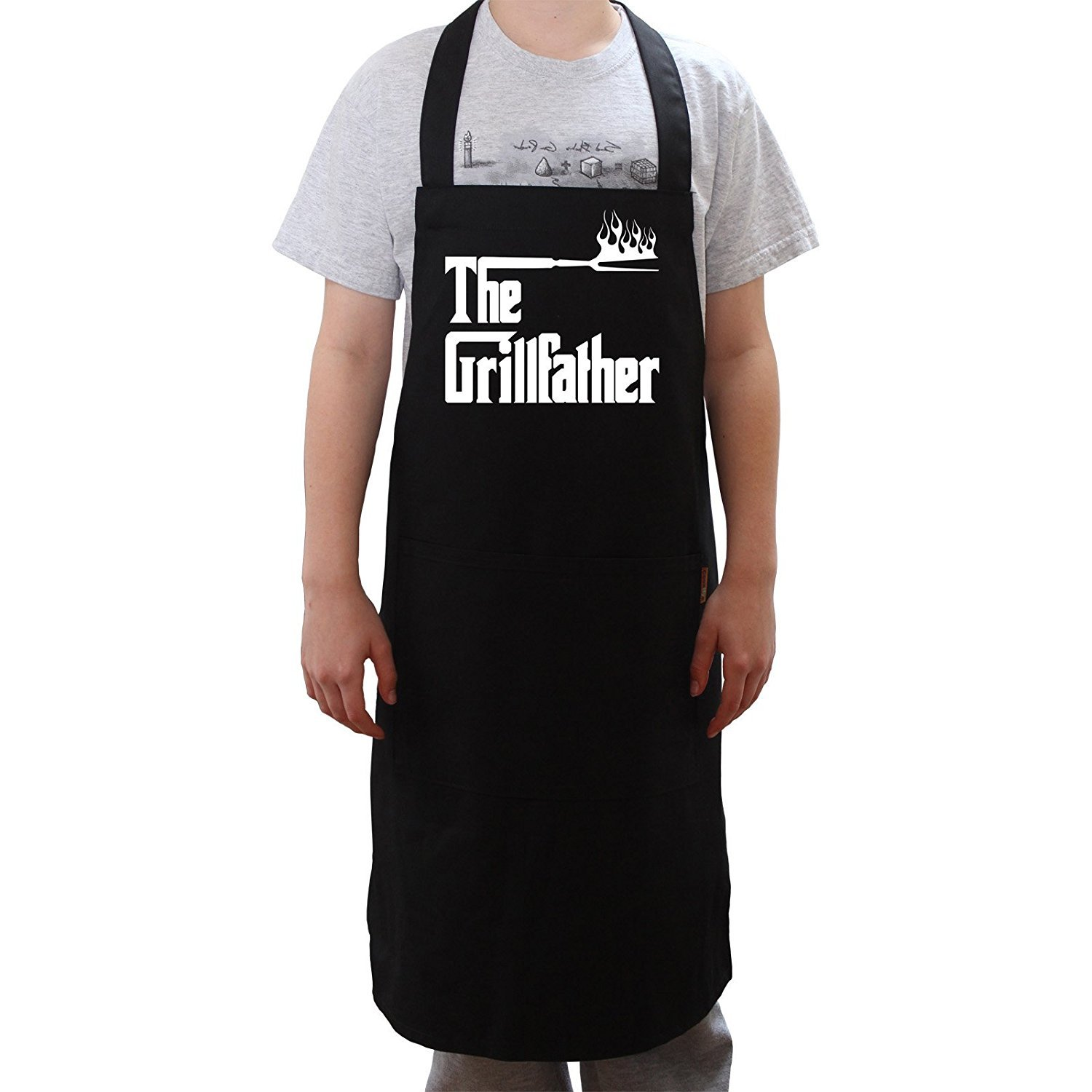 Cookify 'The Grillfather' nero grembiule divertente a forma barbecue regali per gli uomini donne e ragazzi, Black, Adulto S Others