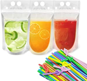 100pcs Reusable Drink Pouches Clear Drink Bags with 100 Disposable Plastic Straws Smoothie Bags Juice Bags Reclosable Double Zipper Handheld Translucent Stand-up Drink Pouches