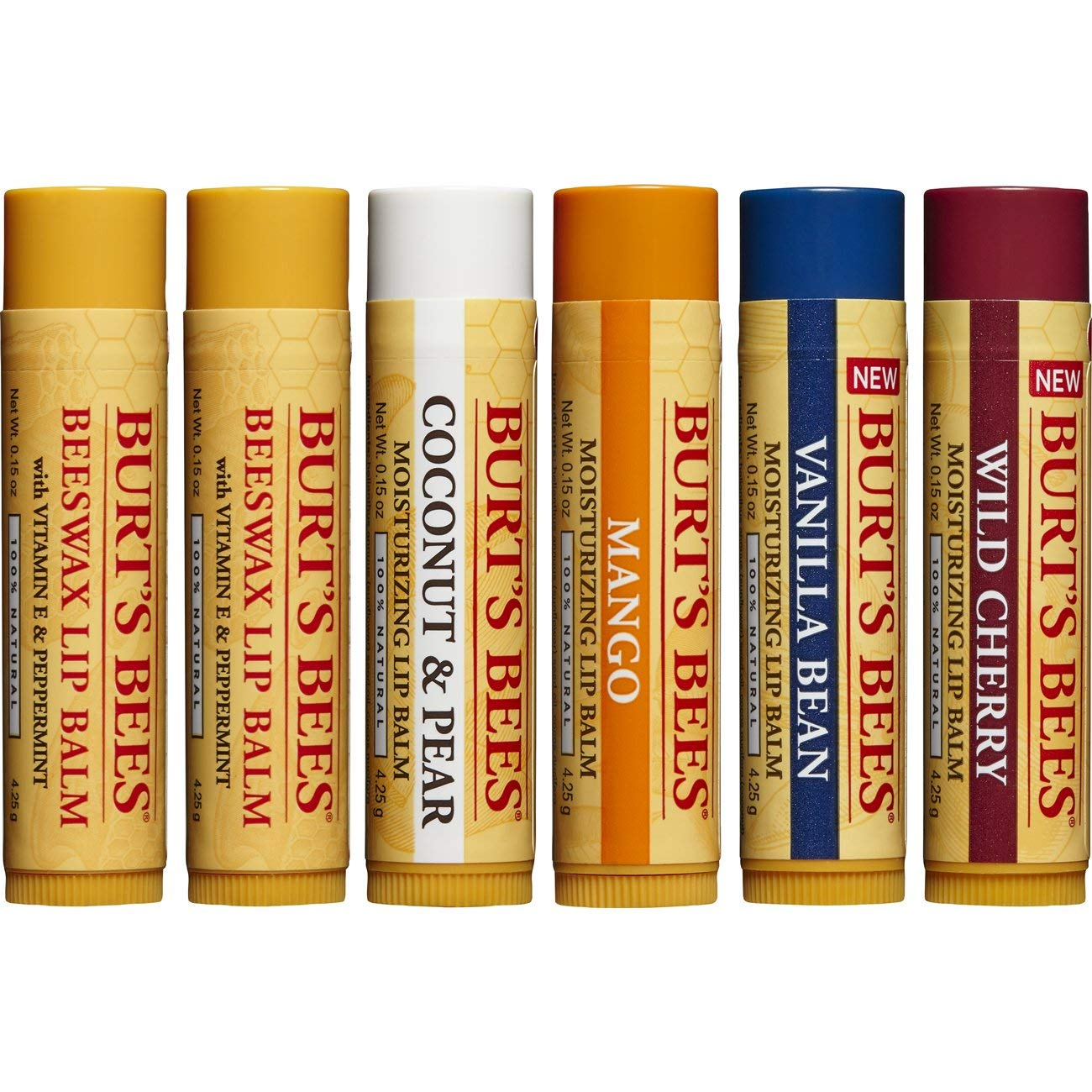 Burt's Bees 100% Natural Moisturizing Lip Balm, Multipack -  Original Beeswax, Coconut & Pear, Vanilla Bean, Mango & Wild Cherry with Beeswax & Fruit Extracts - 6 Tubes by Burt's Bees