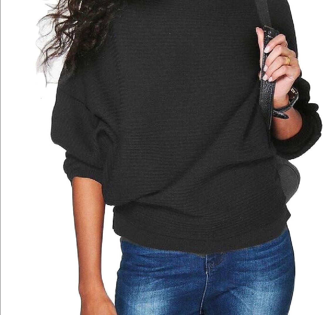 Winwinus Women Bat Sleeve Solid Knit Plus Size Relaxed-Fit Sweater Outwear