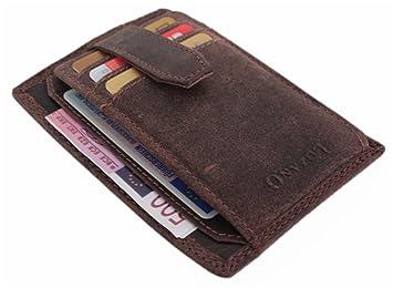 36f962f487eb8 Dünne Herren Leder Geldbörse Kleiner Flacher Geldbeutel schlanke Brieftasche Slim  Portmonee Portemonnaie braun