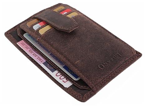 Monedero Hombre Piel – Cartera de Piel Mujer Puerto Monee pequeño Finas Monedero Tarjeta de crédito