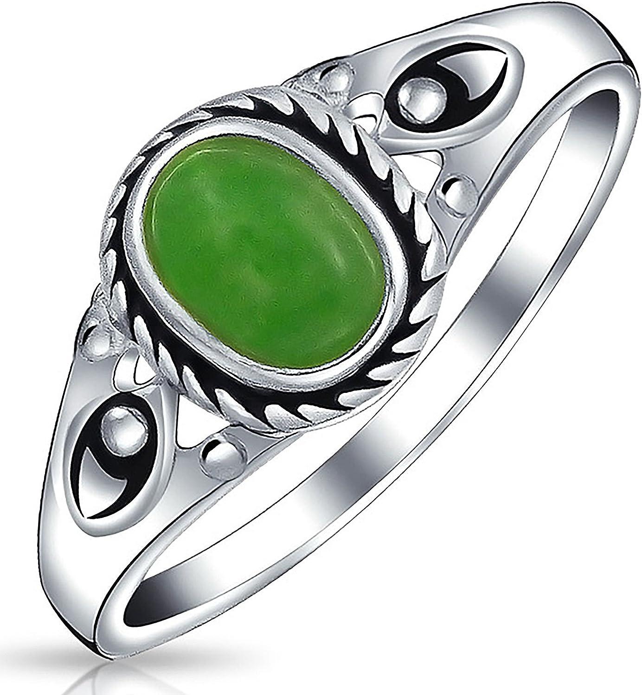 Moda Boho Oval Estilo Bali Teñido De Verde Jade Banda Filigrana Bisel Anillo Para Mujer 925 Piedra De Nacimiento Agosto