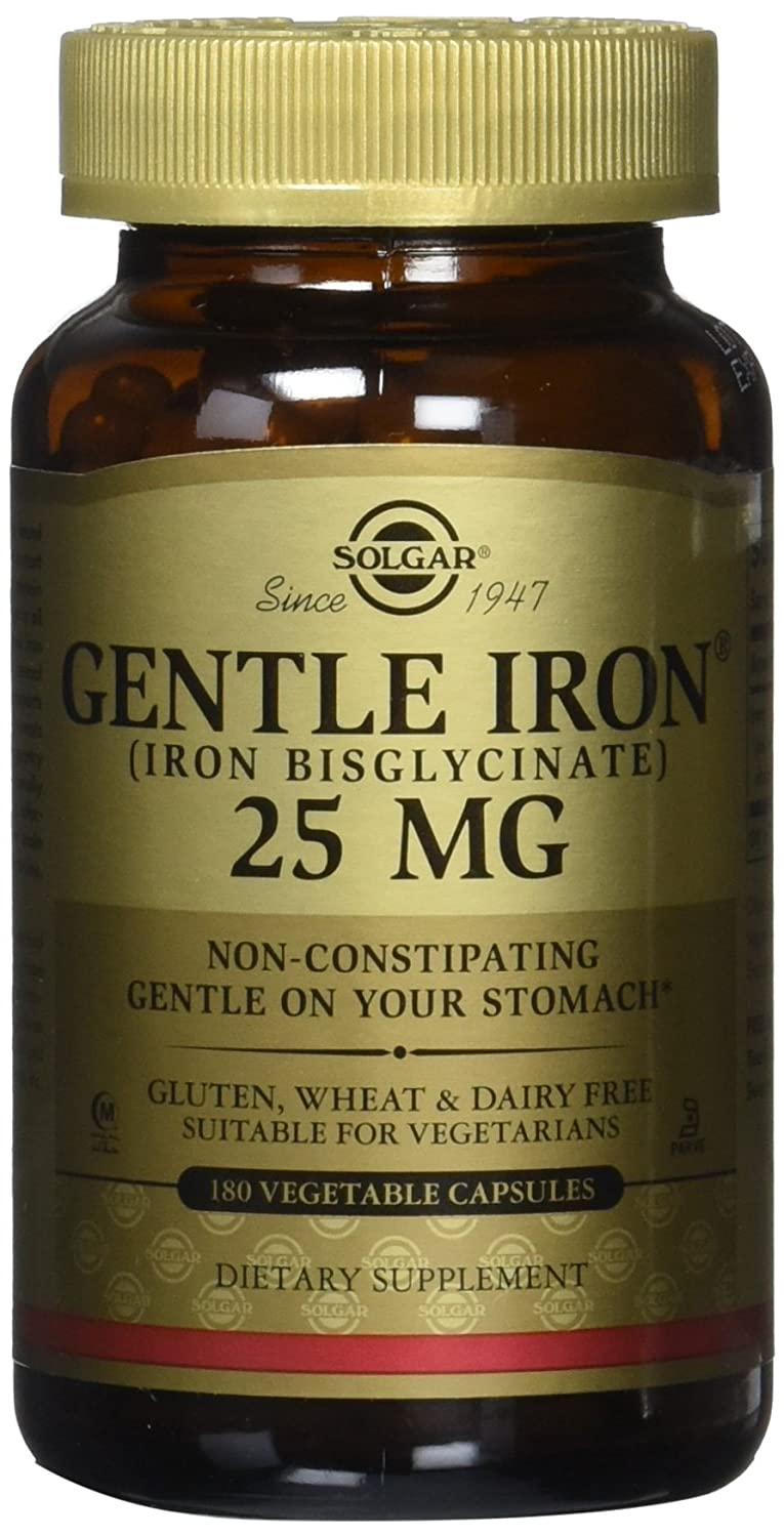 Amazon.com: Solgar - Gentle Iron 25 mg Vegetable Capsules 180 Count 2 PACK Easy on Stomach, Promote Red Blood Cell Production.: Health & Personal Care