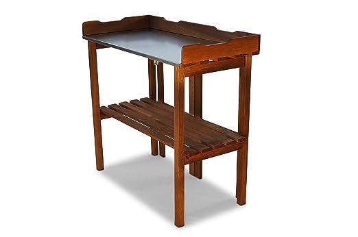 Macetero mesa plegable con trabajo galvanizada marrón B90 x T40 x ...