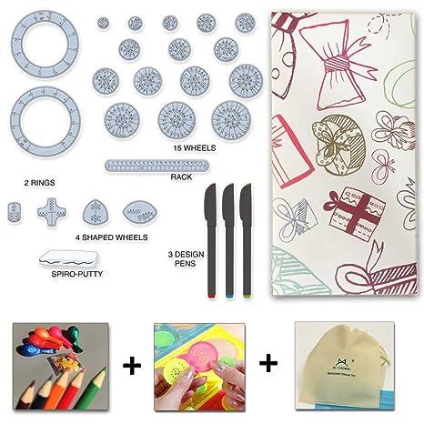 MC CHENMEI Spirograph Set Espirógrafo Conjunto Espiral Dibujo Engranaje del diseño del Arte Set 27 jugadas