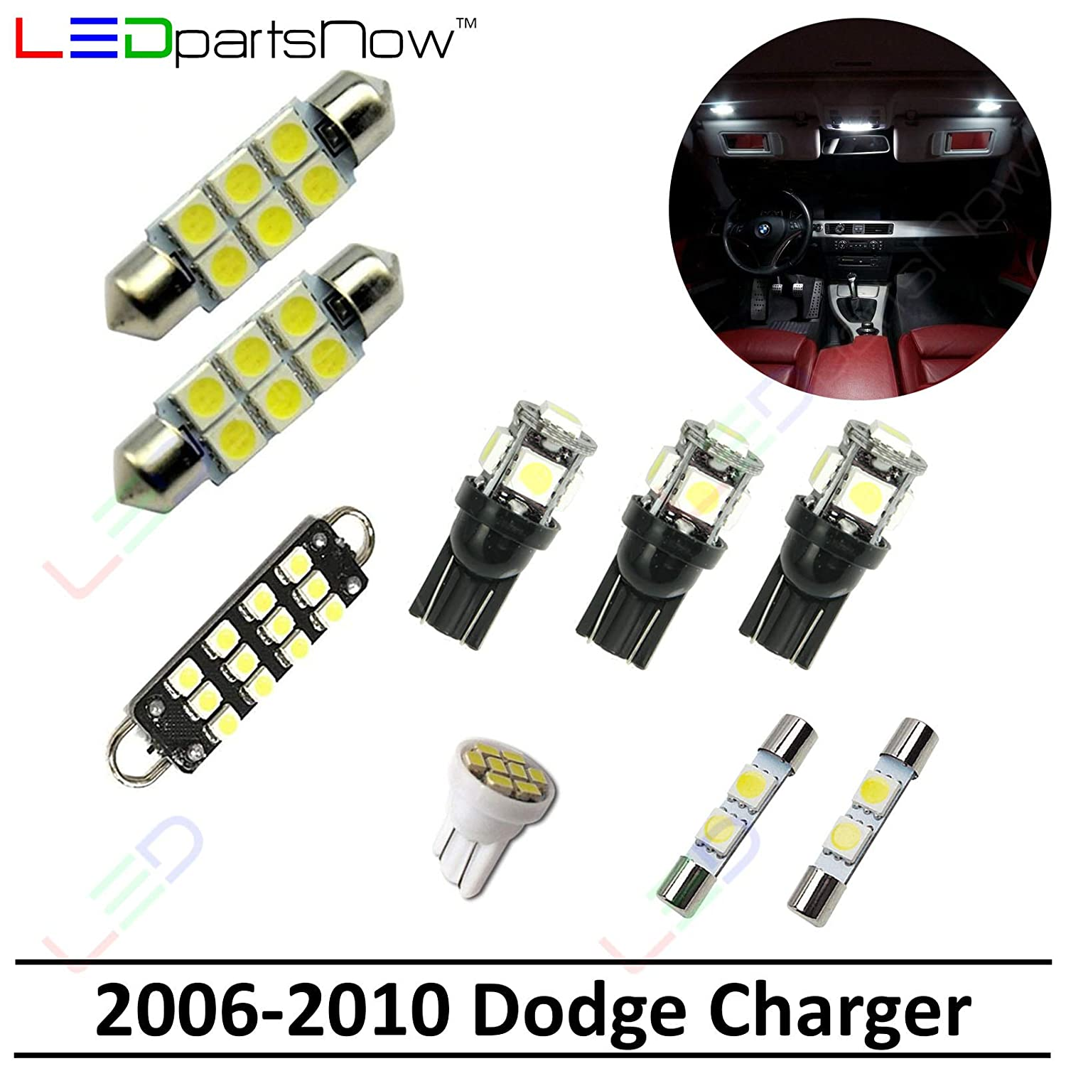 Ledpartsnow Interior Led Lights Replacement For 2006 2010 Dodge Charger Accessories Package Kit 9 Bulbs White