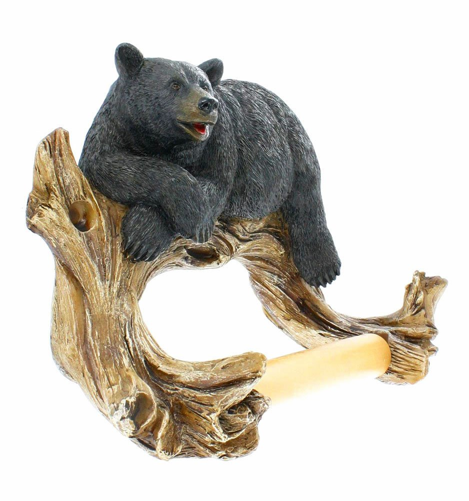 Amazon Com Black Bear Lounging Toilet Paper Holder Decorative Cabin Decor Home Kitchen