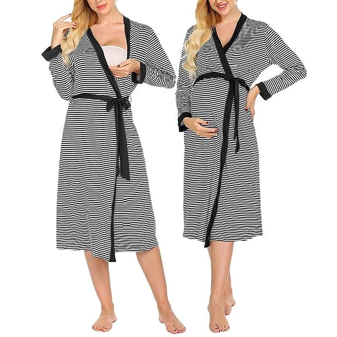 UK Verfügbarkeit für die ganze Familie verschiedene Stile Kisshes Damen Gestreift Umstandsnachthemd Lang ...