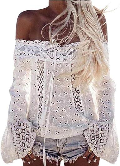 Camiseta para Mujer, Mujeres de Encaje Fuera del Hombro Camisa Casual Verano Tapas Blusa Playa Camiseta