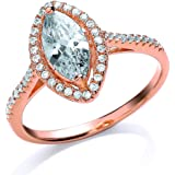 Jewelco London Rose Gold-Plated Sterling Silver Marquise Cubic Zirconia Halo Ring