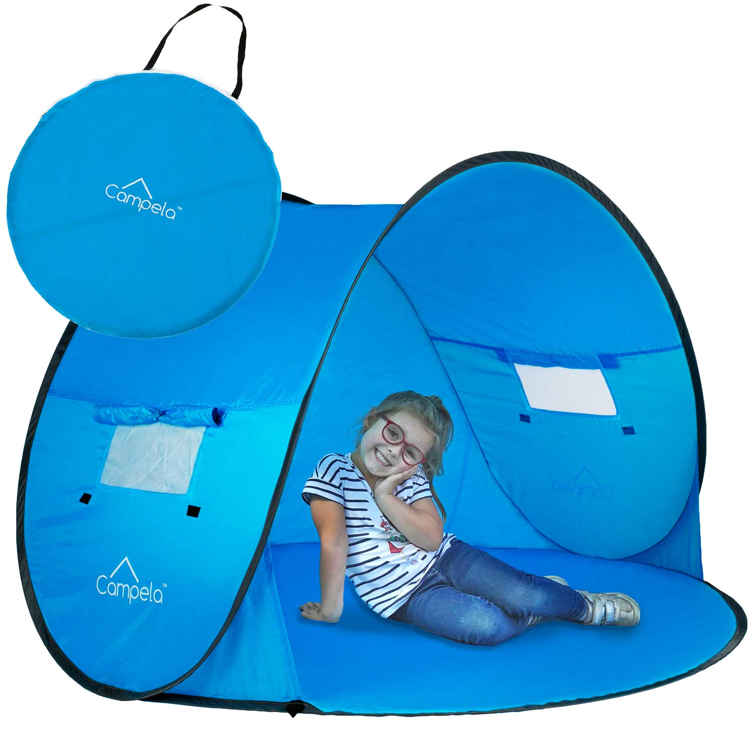 Campela Baby Beach Tent Pop Up Sun Shelter - UV Protection Beach Shade for Toddler, Infant and Family. Camping Gear size 58'x43'
