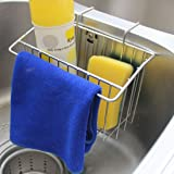 Kitchen Sink Caddy, Peleustech Stainless Steel Sink Hanging Storage Box Draining Kitchen Soap Sponge Holder Rack Brush Sponge Sink Draining Towel Rack Kitchen Tool - Silver