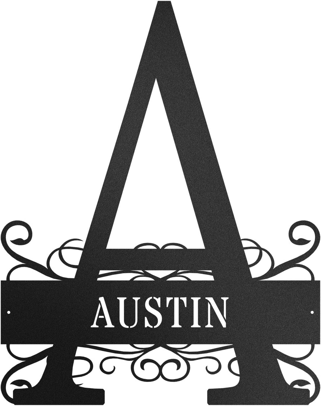 Redline Steel Personalized Wall Decor - Custom Fancy Initial and Name Sign - Letters A-Z for Home, Family, Outdoors (Black, Small)