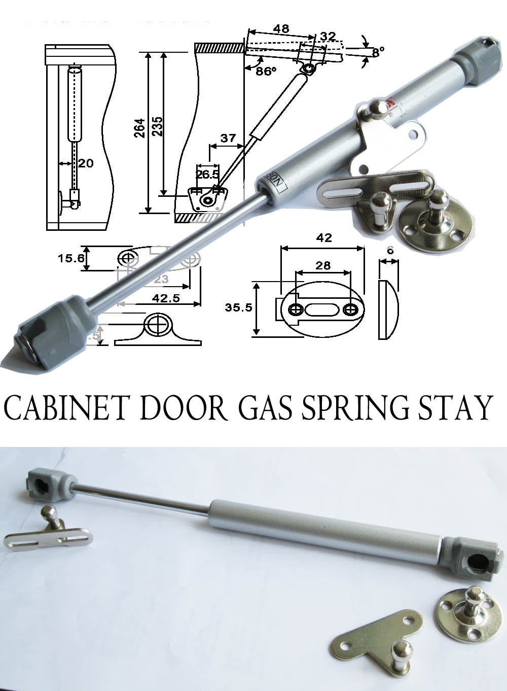 1 Pc of Hnfshop Cabinet Door Lift up Hydraulic Gas Spring Support Lift Stay (80N) - - Amazon.com  sc 1 st  Amazon.com & 1 Pc of Hnfshop Cabinet Door Lift up Hydraulic Gas Spring Support ...