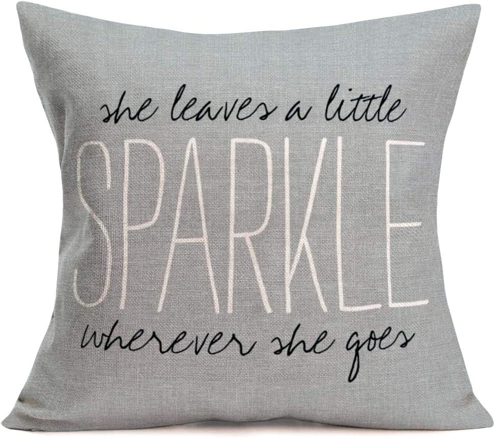 Aremazing Cotton Linen Throw Pillow Case Cushion Cover Home Office Decorative 18 X 18 Inches Gray Quotes She Leaves a Little Sparkle Wherever she goes