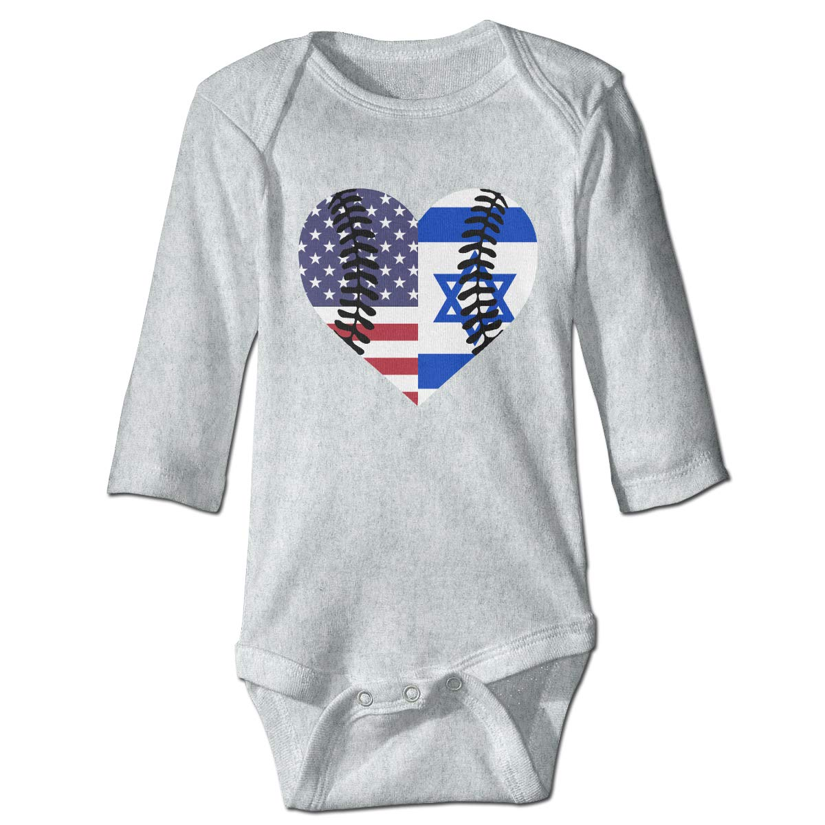 A14UBP Infant Baby Boys Girls Long Sleeve Climb Romper Israel USA Flag Half Baseball Unisex Button Playsuit Outfit Clothes