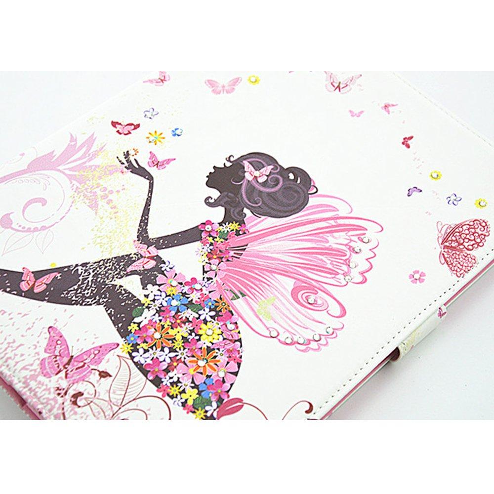 Kunstleder Ledertasche Flip Case Cover Schutzh/ülle Tasche mit St/änder +Staub Stecker +Stift - Aohro Bunt Glitzer Diamant Muster Design SM-T230 // T231 // T235 Butterfly girl -1 PU Leder H/ülle Etui f/ür Samsung Galaxy Tab 4 7.0