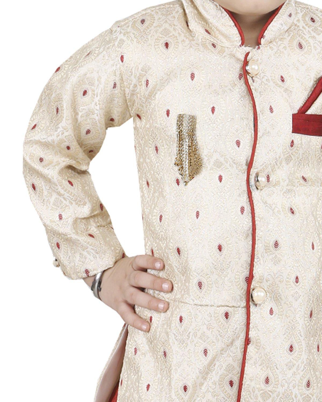 JBN Creation Boys Beige Banarasi Cotton Silk Kurta Pyjama With Jodhpuri Breeches (Size: 6-12 Months) by jbn creation (Image #3)