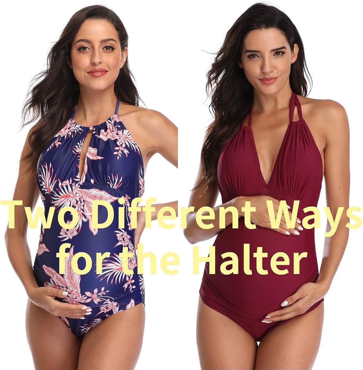 EastElegant Maternity Swimsuits One Piece V-Neck Pregnancy Swimwear Halter Maternity Bikini