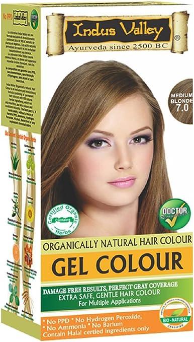 Indus Valley medio Rubio gel cabello tinte colorante kit 7,0