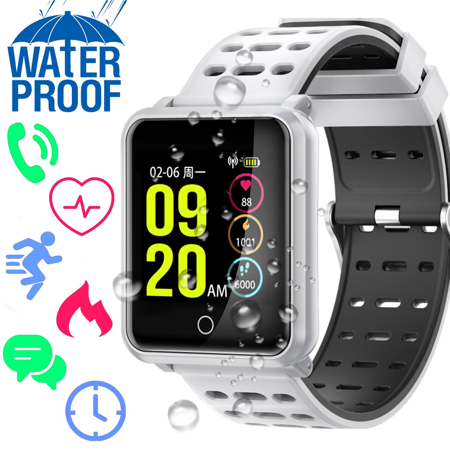 IP68 Waterproof Smart Watch – Sport Fitness Tracker with Heart Rate Monitor for Men Women Blood Pressure Calorie Pedometer Touch Screen Phone Smartwatch Swim Run GPS Activity Tracker for iOS Android