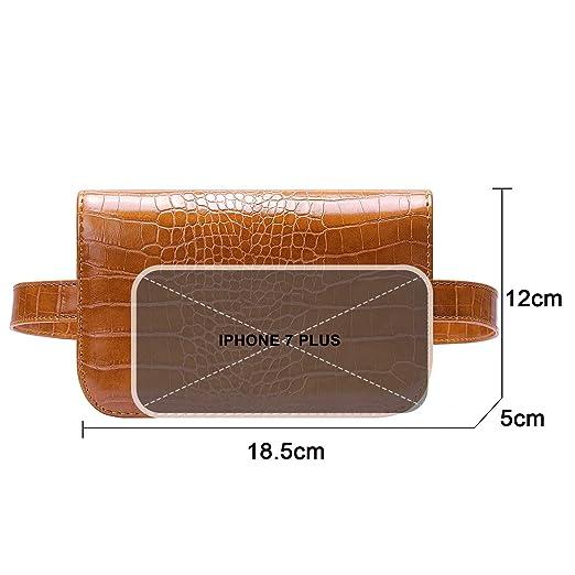 Amazon.com: Badiya - Mini riñonera de piel de cocodrilo para ...