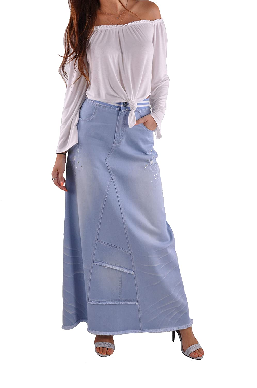 Style J Trendy bluee Long Jean Skirt