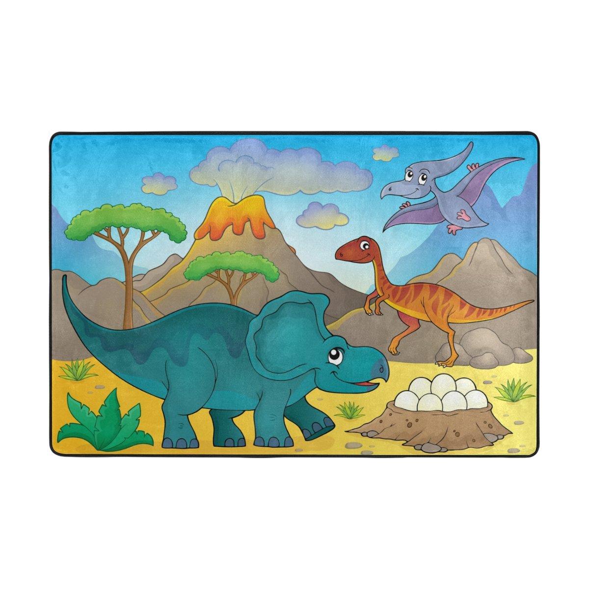 My Little Nest Animal Theme Cartoon Dinosaur Kids Playroom Floor Mat Non Slip Soft Bedroom Door Mat Classroom Rug Carpet 2' x 3'