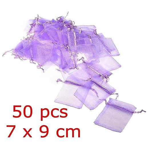 89 opinioni per JZK® 50 x Viola 7x9cm sacchetti sacchettini riso portariso portaconfetti