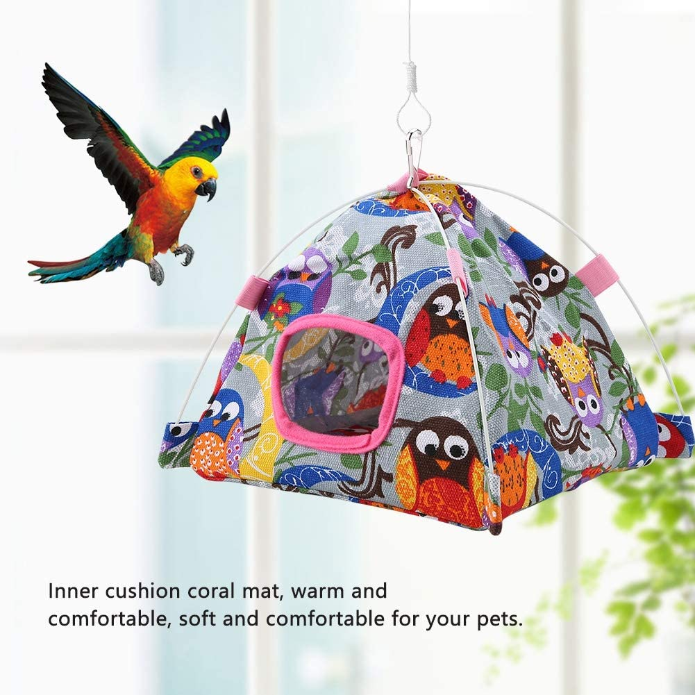Cartoon Plush Snuggle Happy Hut Tent Bed with Coral Mat for Pet Birds Parrot Small Animals Cage Decor Sheens Bird Hammock