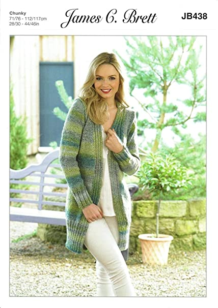 James C Brett Jb438 Knitting Pattern Womens Long Cardigan Jacket