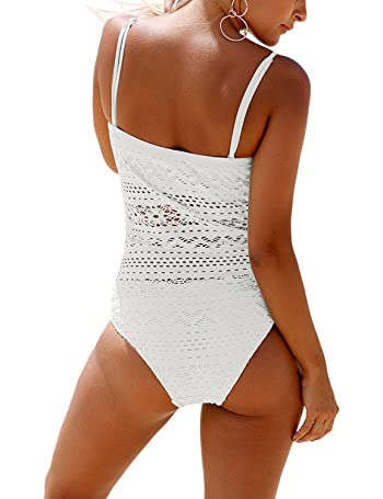 Women's Lace Crochet Straps One-Piece Swimsuits Bathing Suit