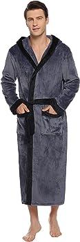 Aibrou Vestaglia Uomo con Cappuccio in Flanella Vestaglia da Uomo Pile Camicia da Notte per Casa Spa Bagno Hotel Accappatoio Invernale Uomo Lungo con Cintura