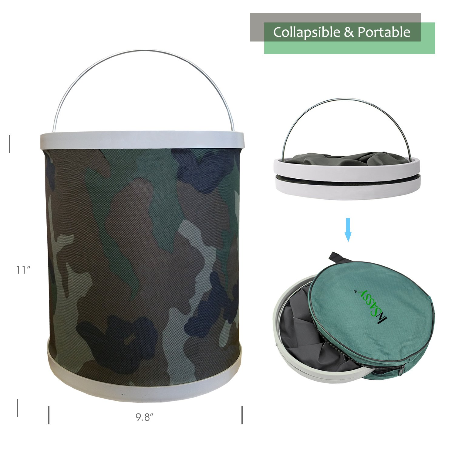 Compact Collapsible Water Bucket by InSassy – Perfect for Camping, Gardening and Outdoors – Durable, Lightweight and Portable Folding Wash Basin Storage Fishing Beach Container – Camo Color by InSassy (Image #2)