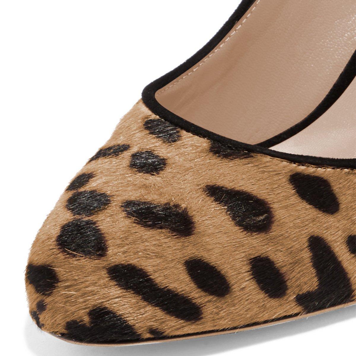 FSJ Women Classic Round Toe Velvet Pumps Chunky High Heels Slip On Office Dress Shoes Size 4-15 US B07B2YBT57 8.5 M US|Leopard-10 Cm