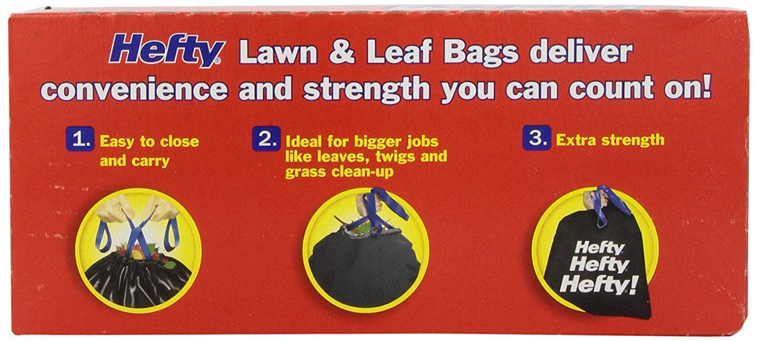 Hefty Cinch Sak Extra Strong Drawstring Lawn and Leaf Bags, 39 Gallon, Black, 18 Ct (Pack Of 5) by Hefty.