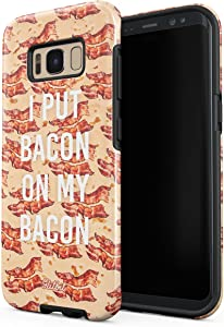Glitbit Compatible with Samsung Galaxy S8 Plus Case Bacon Strips Print Fat Fast Junk Food Bacon Lover Addict Funny Quotes About Love Shockproof Dual Layer Hard Shell + Silicone Protective Cover