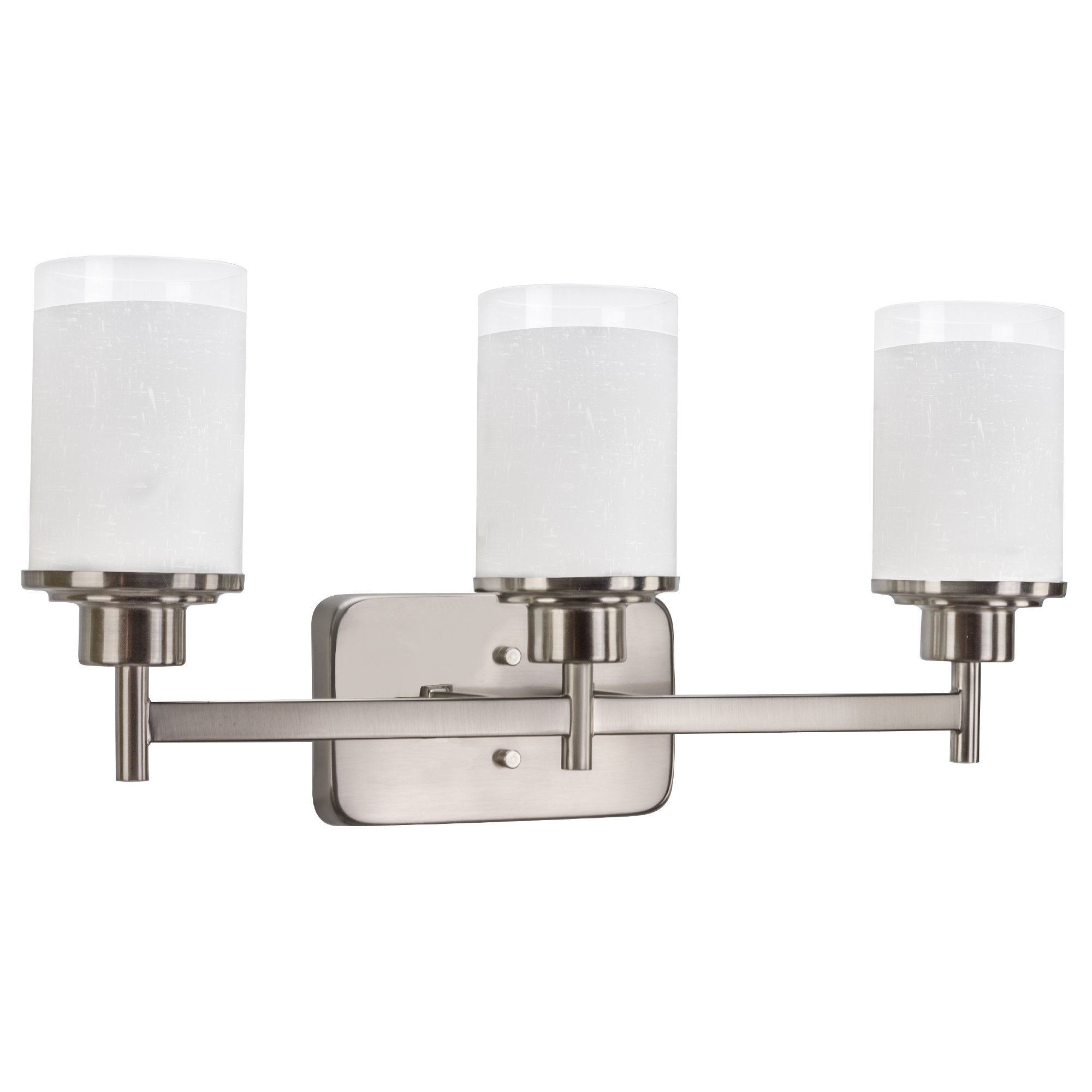 Revel Windsor 22'' 3-Light Modern Vanity/Bathroom Light, Brushed Nickel Finish & Frosted Linen Glass Shades