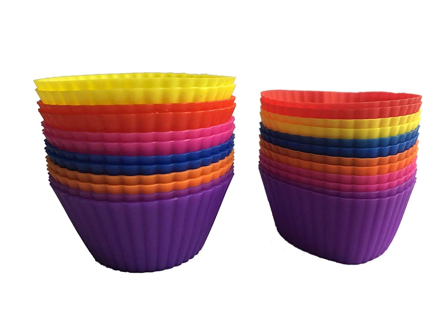 Cupcake Silicone Baking Cups Muffin Baking Cups Liner 24-Pack Round & Heart Colorful Reusable Non-Stick Cake Molds Sets (396)