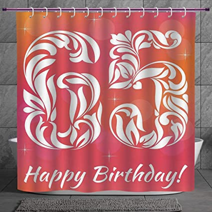Polyester Shower Curtain 20 65th Birthday DecorationsGreeting Card Inspired Design With Decorative Font