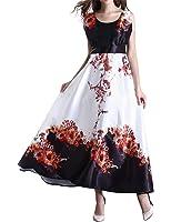 AMZ PLUS Women Floral Sleeveless Empire Waist Plus Size Swing Maxi Dress