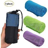 Toalla de enfriamiento deportiva refrescante paño toalla de hielo fría instantánea de gimnasio - ejercicios de Secado rápido Microfibras toalla con bolsa de almacenamiento para correr senderismo / golf / viaje / yoga (3 Piezas)