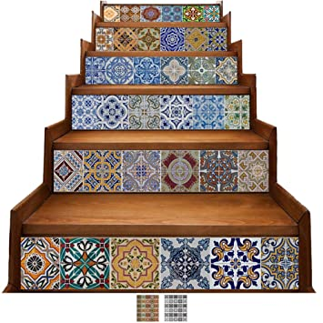 6 PC Backsplash Mexican Tile Stickers Waterproof Wall Stair Mural Sticker Decals