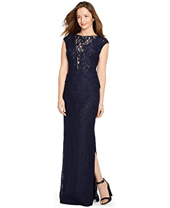 5eea2e9f031 Image Unavailable. Image not available for. Color: Lauren Ralph Lauren  Womens Lace Overlay Popover Navy evening dress ...