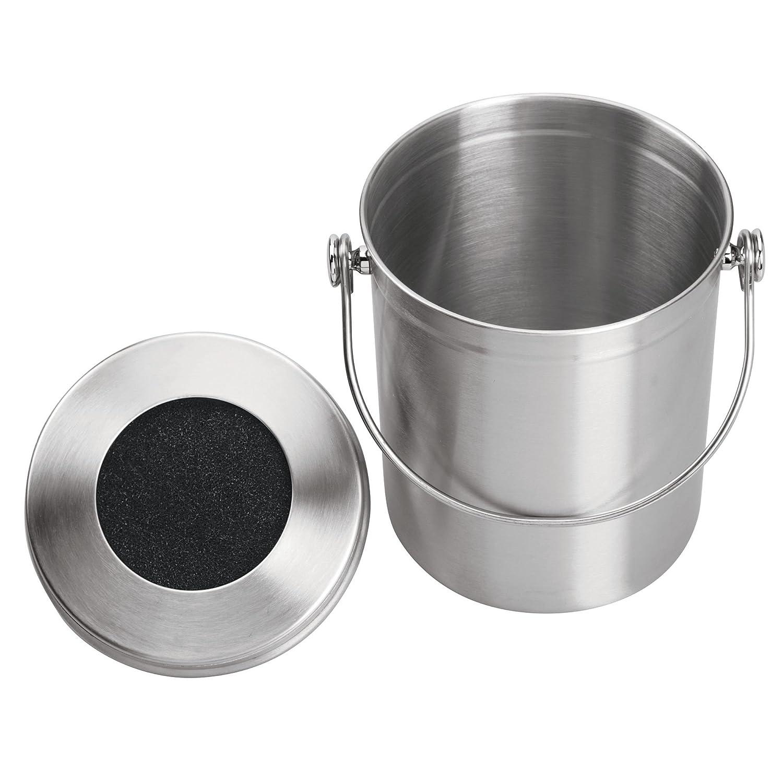 mDesign Compostadora redonda con tapa - Cubo de basura de cocina para hacer compost - Con filtro de carbón activado en la tapadera - Para 5 litros de ...