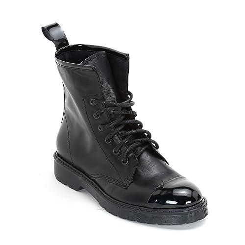 Alesya by Scarpe&Scarpe - Zapatos Impermeables con Cordones y Punta marcada de Charol, de Piel - 40,0, Negro