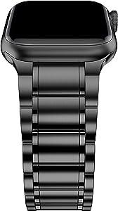 BaiHui Titanium Watch Band Compatible with Apple Watch Band 42mm/44mm,Titanium Alloy Metal Replacement Watch Bands Compatible for Apple Watch Series 6/SE /5/4/3/2 - Black