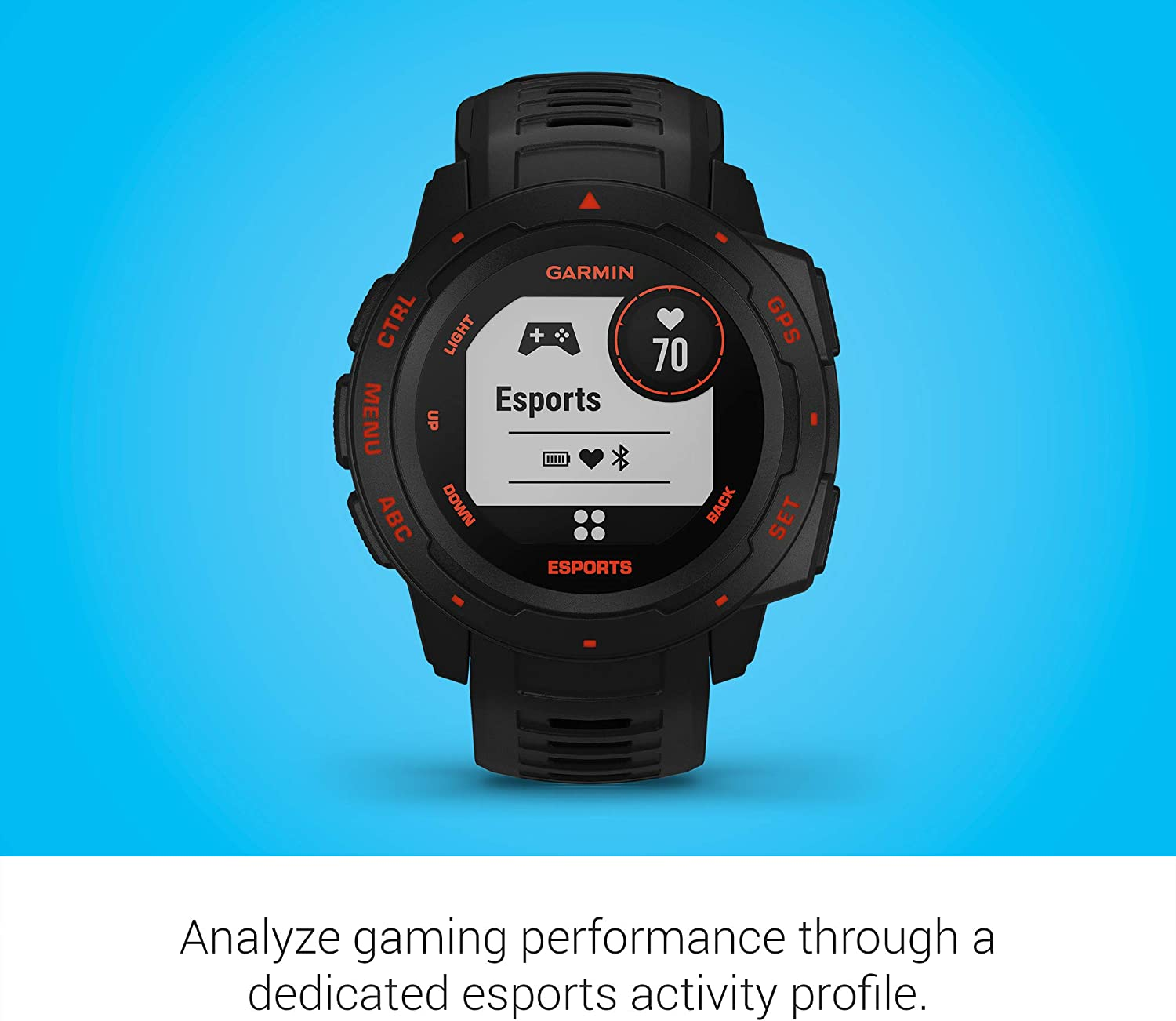 GPS Gaming Smartwatch with Esports Activity Profile Garmin Instinct Esports Edition Broadcast Your Stress Level and Heart Rate to Game Streams via Str3AMUP!