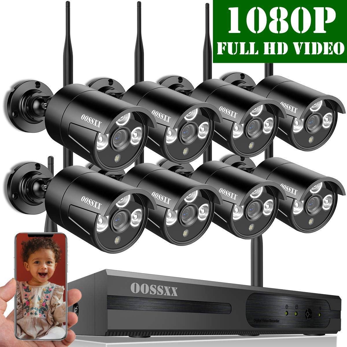 1 TB 100 vatios OOSSXX Sistema de c/ámaras de seguridad inal/ámbrica NVR 8CH con visi/ón nocturna IP67 720P 4 canales c/ámaras IP para exteriores con disco duro 1080p 960p 8CH Blanco
